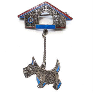 SOLD! Topazio Portugal Scottie Dog Sterling Brooch